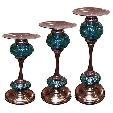 Bloomsbury Market Pillar 3 Piece Glass Candlestick Set