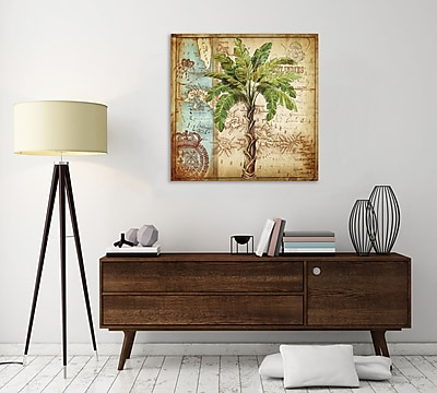 Bay Isle Home 'Antique Palm Tree' Graphic Art Print on Wrapped Canvas; 24'' H x 24'' W
