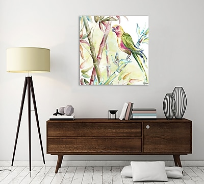 Bay Isle Home 'Watercolor Bamboo and Parrot II' Print on Wrapped Canvas; 30'' H x 30'' W