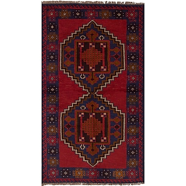 Bloomsbury Market Onawa Hand-Knotted Wool Rectangular Red Indoor Area Rug