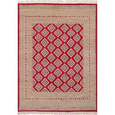 Bloomsbury Market Onondaga Hand-Knotted Wool Red Geometric Indoor Area Rug