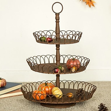 Darby Home Co Denisha Iron Rustic Triple Tray Accent