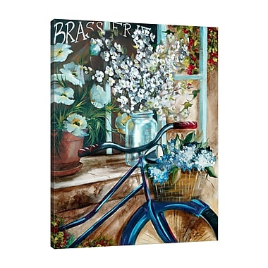 August Grove 'Vintage Bicycle and Mason Jar II' Print on Wrapped Canvas; 48'' H x 36'' W