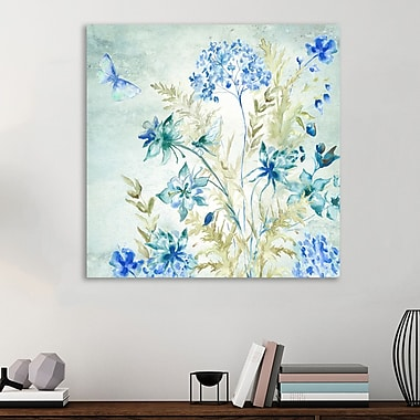 August Grove 'Wildflower and Dragonfly' Graphic Art Print on Wrapped Canvas; 36'' H x 36'' W