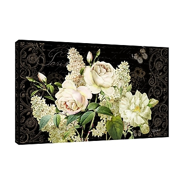 August Grove 'White Flowers On Black' Graphic Art Print on Wrapped Canvas; 18'' H x 18'' W