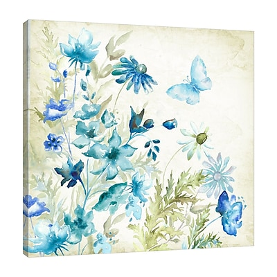 August Grove 'Wildflower and Butterfly' Print on Wrapped Canvas; 24'' H x 24'' W