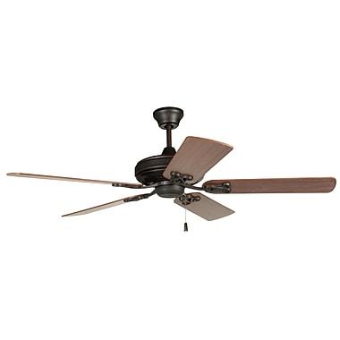 Loon Peak 52'' Deidra 5-Blade Traditional Fan; Aged Bronze with Dark Oak/Mahogany Blades