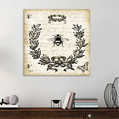 Ophelia & Co. 'French Laurel Wreath: Bumblebee' Graphic Art Print on Wrapped Canvas; 12'' H x 12'' W