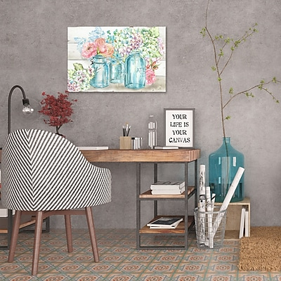 Ophelia & Co. 'Colorful Flowers In Mason Jar II' Print on Wrapped Canvas; 12'' H x 18'' W