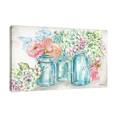 Ophelia & Co. 'Colorful Flowers In Mason Jars' Print on Wrapped Canvas; 20'' H x 30'' W