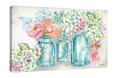 Ophelia & Co. 'Colorful Flowers In Mason Jars' Print on Wrapped Canvas; 16'' H x 24'' W