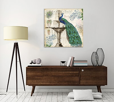 Ophelia & Co. 'Vintage Peacock' Graphic Art Print on Wrapped Canvas; 12'' H x 12'' W