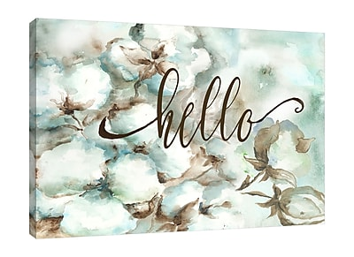Winston Porter 'Cotton Bolls: Hello' Graphic Art Print on Wrapped Canvas; 24'' H x 36'' W