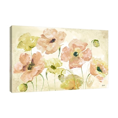 Winston Porter 'Blush and Gold Poppies' Watercolor Painting Print on Wrapped Canvas; 12'' H x 18'' W