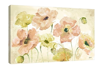 Winston Porter 'Blush and Gold Poppies' Watercolor Painting Print on Wrapped Canvas; 24'' H x 36'' W