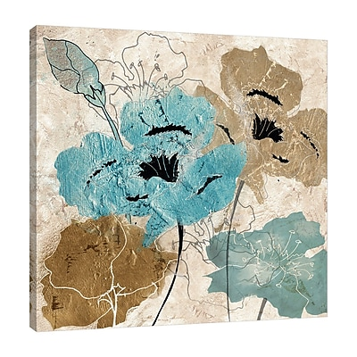 Winston Porter 'Metallic Blue and Brown Poppies II' Print on Wrapped Canvas; 36'' H x 36'' W