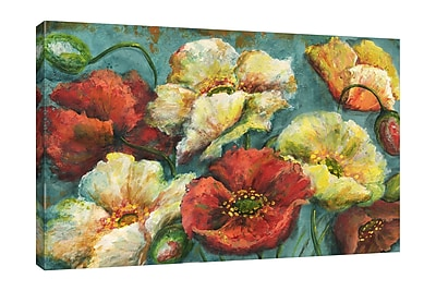 Winston Porter 'Colorful Poppies on Turquoise' Print on Wrapped Canvas; 24'' H x 36'' W
