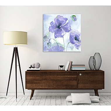 Winston Porter 'Purple Poppies III' Watercolor Painting Print on Wrapped Canvas; 36'' H x 36'' W