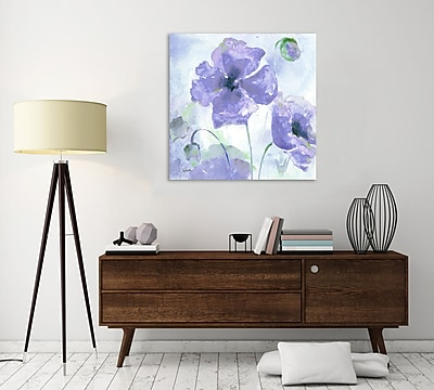 Winston Porter 'Purple Poppies III' Watercolor Painting Print on Wrapped Canvas; 18'' H x 18'' W