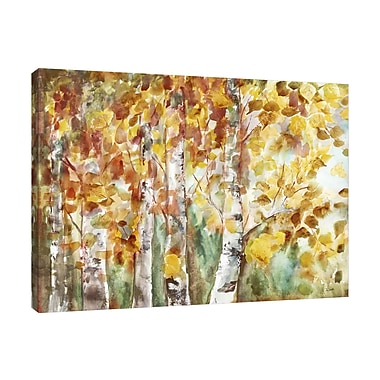 Winston Porter 'Fall Aspens' Watercolor Painting Print on Wrapped Canvas; 24'' H x 32'' W
