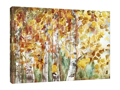 Winston Porter 'Fall Aspens' Watercolor Painting Print on Wrapped Canvas; 30'' H x 40'' W