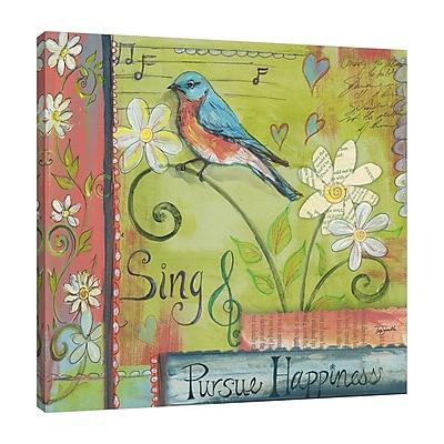 Winston Porter Blue Bird Sing' Graphic Art Print on Wrapped Canvas; 48'' H x 48'' W