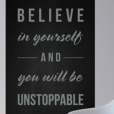 Wallums Wall Decor Believe in Yourself Wall Decal; Gray