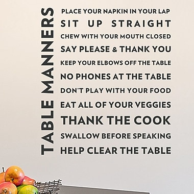 Wallums Wall Decor Table Manners Quote Wall Decal; Black