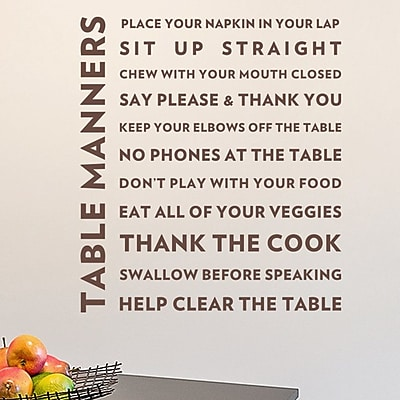 Wallums Wall Decor Table Manners Quote Wall Decal; Chocolate Brown
