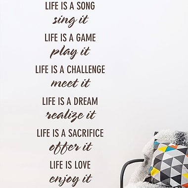 Wallums Wall Decor 'Life Is' Quote Wall Decal; Chocolate Brown