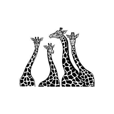 Decal House Giraffe Family Wall Decal; Black