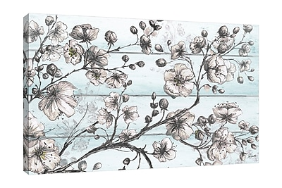 Ophelia & Co. 'Blossom Sketch on Shiplap' Print on Wrapped Canvas; 12'' H x 18'' W