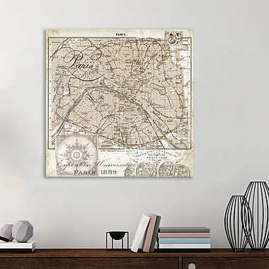 Ophelia & Co. 'Paris Map IV' Graphic Art Print on Wrapped Canvas; 36'' H x 36'' W