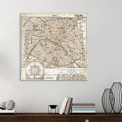 Ophelia & Co. 'Paris Map IV' Graphic Art Print on Wrapped Canvas; 48'' H x 48'' W