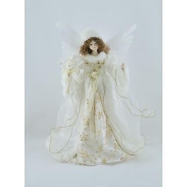 The Holiday Aisle Moving Fiber Optic Ivory Angel Tree Topper