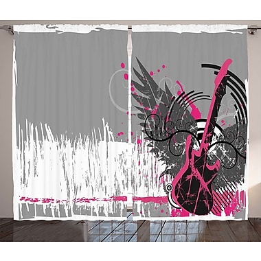 Phoebe Music Guitar and Wings Graphic Print & Text Semi-Sheer Rod Pocket Curtain Panels (Set of 2)