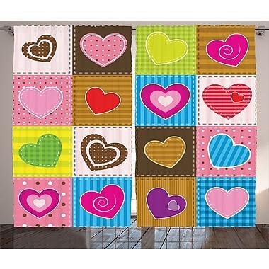 Preston Patchwork Cute Heart Graphic Print & Text Semi-Sheer Rod Pocket Curtain Panels (Set of 2)