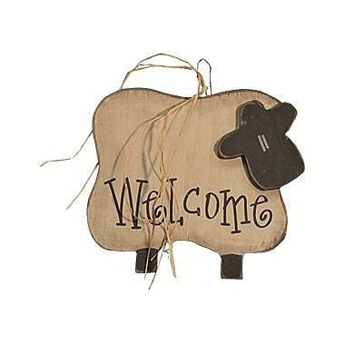 August Grove Welcome Sheep Hanger Wood Wall Decor