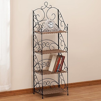 Miles Kimball 4 Tier Wicker and Metal 50'' Accent Shelves Bookcase