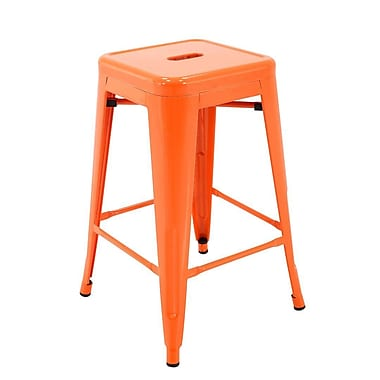 Ivy Bronx Feiss Stackable Indoor and Outdoor Metal Patio Counter 24'' Bar Stool (Set of 4); Orange