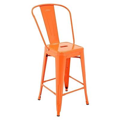 Ivy Bronx Feldt Indoor and Outdoor Rust-Resistant Metal 24'' Bar Stool w/ Back (Set of 4); Orange
