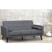 George Oliver Valadez Mid Century Tufted Sofa; Dark Gray