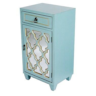 Heather Ann Accent Cabinet; Light Blue/Gold