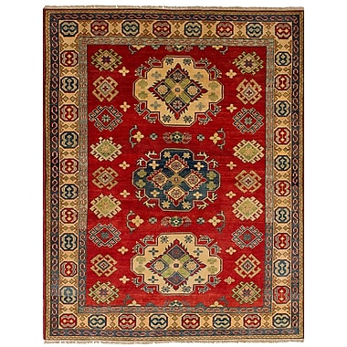 Bernard Traditional Hand-Knotted Weave 100 pct Wool Rectangular Red Geometric Indoor Area Rug