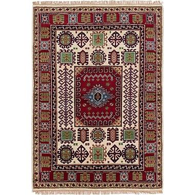 Bloomsbury Market Berkshire Hand-Knotted Wool Rectangular Red Geometric Indoor Area Rug