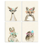 Harriet Bee 'Woodland Critters w/ Cat Eye Glasses' 4pc Wall Plaque Art Set