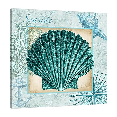 Highland Dunes 'Aqua Shell: Scallop' Graphic Art Print on Wrapped Canvas; 36'' H x 36'' W