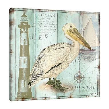 Highland Dunes 'La Mer: Pelican' Graphic Art Print on Wrapped Canvas; 48'' H x 48'' W
