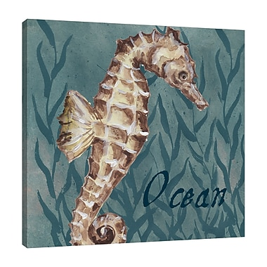 Highland Dunes 'Nautical Critters: Sea Horse' Graphic Art Print on Wrapped Canvas; 48'' H x 48'' W