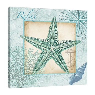 Highland Dunes 'Aqua Shell: Starfish' Graphic Art Print on Wrapped Canvas; 48'' H x 48'' W